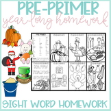Pre-Primer Sight Word Homework for the Year