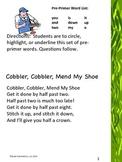 Pre-Primer Sight Word List
