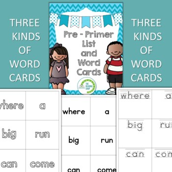dolch pre primer sight word list and word cards
