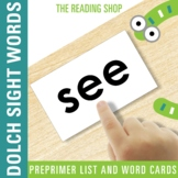 Dolch Pre-Primer Sight Word List and Word Cards
