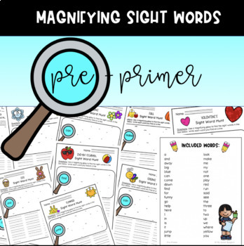 Pre-Primer Dolch List Sight Word Activities Year-Long Bundle!