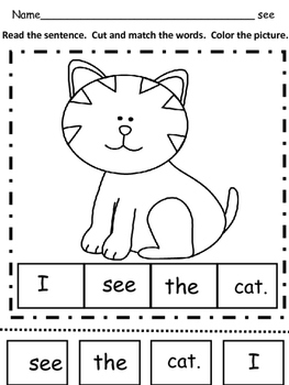 Pre-Primer Sight Word Make a Sentence