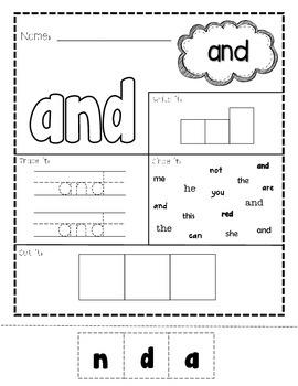 Pre-Primer Print & Go Sight Word Pack