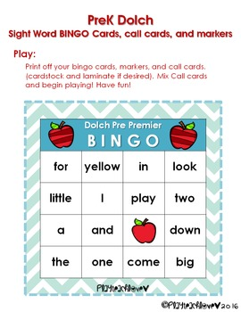 Pre-Primer Sight Word Package With Bingo Game!