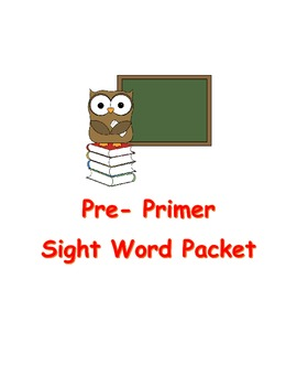 Pre Primer Sight Word Packet