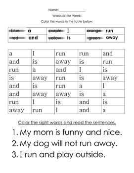 Pre Primer Sight Word Practice Sampler