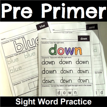Pre Primer Sight Word Practice