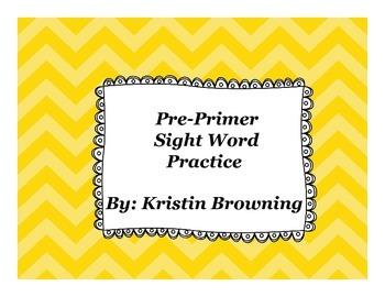 Pre-Primer Sight Word Practice (39 words)
