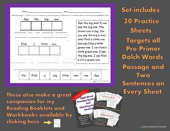 Pre-Primer Sight Word Practice Sheets: Cut it, Paste, Read it, Write it.