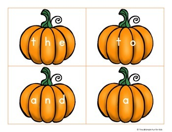 Pre-Primer Sight Word Pumpkin Flash Cards