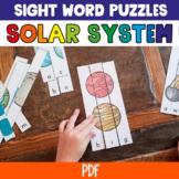 Pre-Primer Sight Word Puzzles Solar System