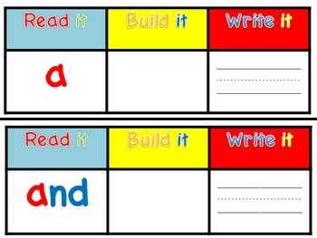 Pre- Primer Sight Word Read It, Build It, Write It