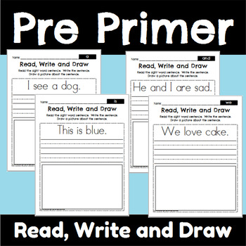 Pre Primer Sight Word Read Write and Draw