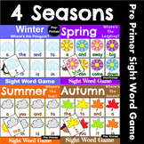 Pre Primer Sight Word Recognition Games Bundle for All Seasons