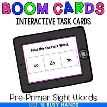 Pre-Primer Sight Word Recognition Interactive Digital Task Cards (Boom! Deck)
