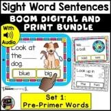 Pre Primer Sight Word Sentences DIGITAL & PRINT Task Cards