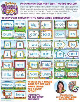 Pre-Primer Sight Word Sign Post Cards (Dolch)