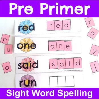 Pre Primer Sight Word Spelling Cards Seasons Bundle