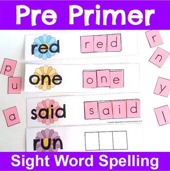 Pre Primer Sight Word Spelling Cards for Spring
