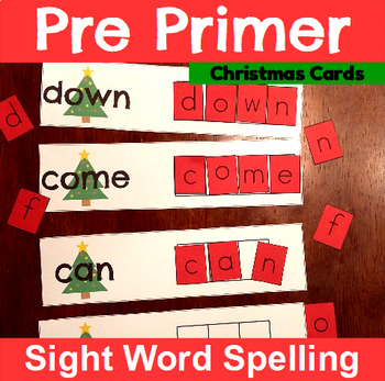 Pre Primer Sight Word Spelling Cards with Christmas Trees