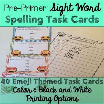 Pre-Primer Sight Word Spelling Emoji Task Cards