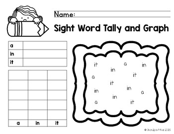 Pre-Primer Sight Word Tally and Graph