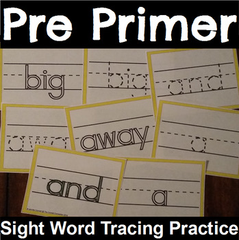 Pre Primer Sight Word Tracing Cards