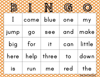 Pre-Primer Sight Word Bingo