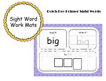 Pre-Primer Sight Word Work Mats