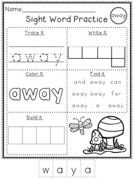 Pre-Primer Sight Word Work - SPRING