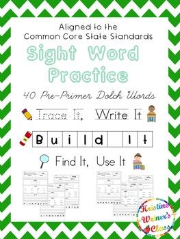 Pre-Primer Sight Word Work {Trace It, Write It, Build It, Find It, Use It}