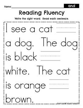 Pre Primer Sight Word Write and Read Fluency Passages