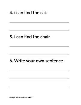 """Pre-Primer Sight Word """"find"""" correct the sentence"""