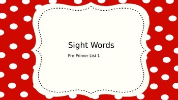 Pre Primer Sight Words
