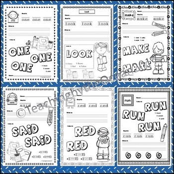 Pre-Primer Sight Words Activities - Back to School Themed