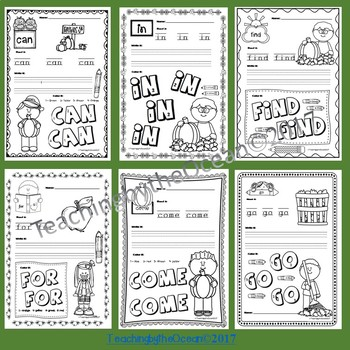 Pre-Primer Sight Words Activities - Fall Themed