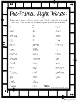 Pre-Primer Sight Words Assessments and Parental Support Helpers