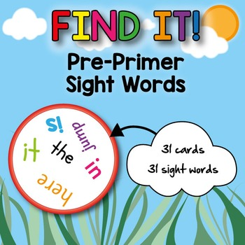 Pre-Primer Sight Words Card Game (Spot-it! | Find it! | Double | Doble | Dobble)