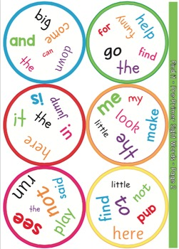 pre primer sight words card game spot it find it