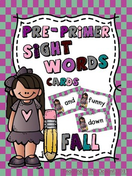 Pre-Primer Sight Words Cards  - Fall Themed