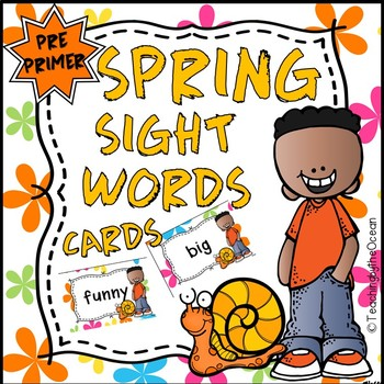 Pre-Primer Sight Words Cards - Spring Themed