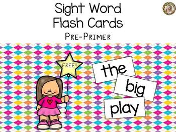 Pre-Primer Sight Words Flash Cards