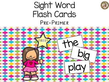 Pre-Primer Sight Words Flash Cards