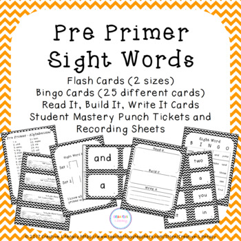 Pre Primer Sight Words Flash Cards and Bingo - Black and White