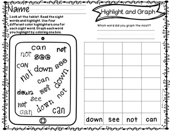 Pre-Primer Sight Words (Highlight and Graph)