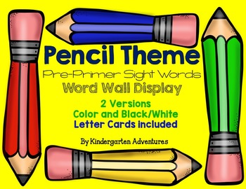 Pre-Primer Sight Words Pencil Theme Word Wall
