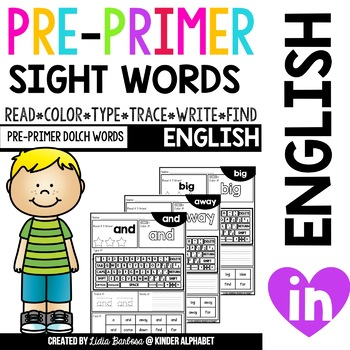 Pre-Primer Sight Words: Read-Color-Type-Trace-Write-Find