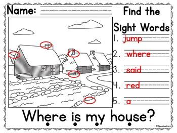Pre Primer Sight Words Thanksgiving Detective Hunt Game