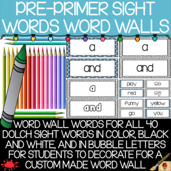 Pre-Primer Sight Words Word Wall(s)