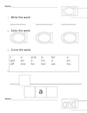 Pre Primer Sight Words Work Sheets